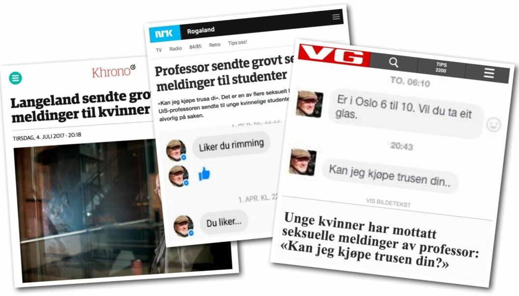 I sommer ble det kjent at professor Nils Rune Langeland hadde sendt en rekke grove meldinger til yngre kvinner. Faksimile: Medier24