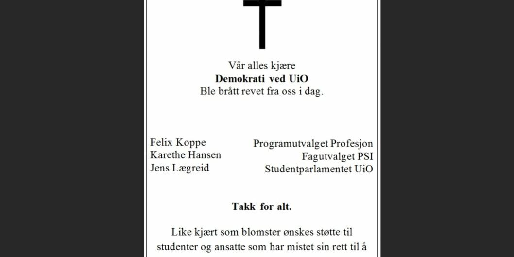 Denne annonsen delte Studentparlamentet ved Universitetet i Oslo på sin Facebook-side. — Vi har stor takhøyde for debatt på Universitetet i Oslo, så dette tåler vi, sier rektor SveinStølen.