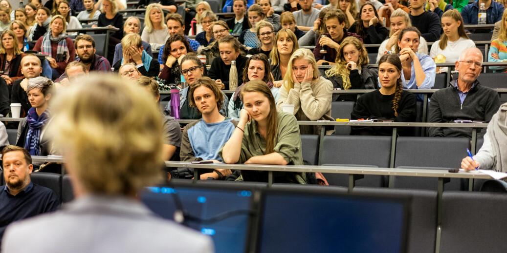 Fra allmøte om klinikksaken på Universitetet i Oslo.