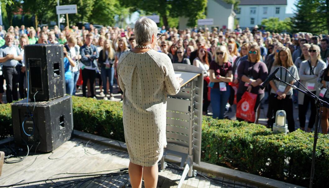 Rektor på Høgskolen i Innlandet, Kathrine Skretting, åpner studieåret på studiested Hamar iaugust. Foto: Ketil Blom Haugstulen