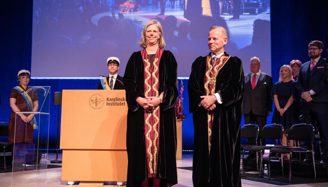 Karin Dahlman-Wright leverte rektorkjedet videre til Ole Petter Ottersen, og skal nå være hans prorektor ved Karolinska Institutet i Stockholm. Foto: Erik Cronberg/KarolinskaInstitutet