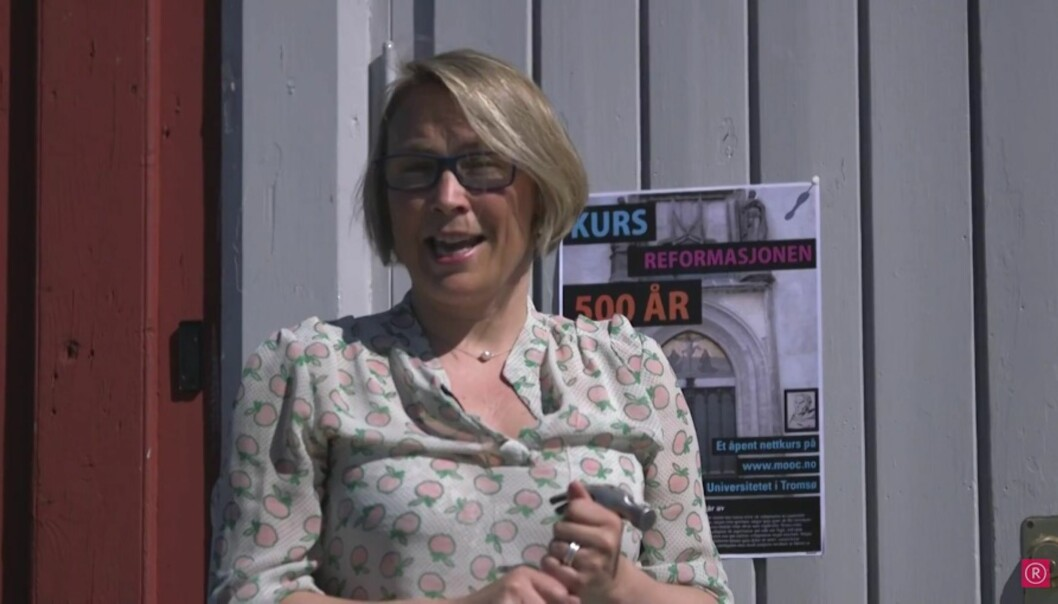 Førsteamanuensis Sigrun Høgetveit Berg er en av foreleserne på mooc-en om reformasjonen. Foto:Skjermdump