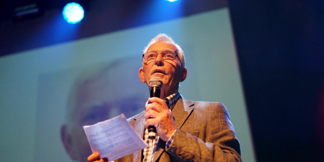Geir Martinussen mottok prisen på ansattfesten til Høgskolen i Oslo og Akershus på Rockefeller 31.august. Foto: Ketil Blom Haugstulen
