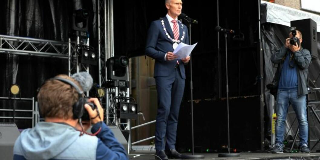 Steinar Kristoffersen overtok som ny rektor ved Høgskolen i Molde 1. august. Her ved studiestart i Molde 16. august. Foto: Arild J.Waagbø