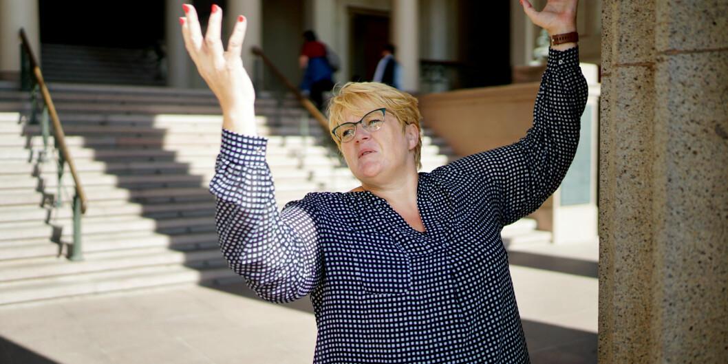 Trine Skei Grande, partileder i Venstre, må strekke seg litt lenger for å nå opp til sperregrensen ved stortingsvalget om 14dager. Foto: Ketil Blom Haugstulen