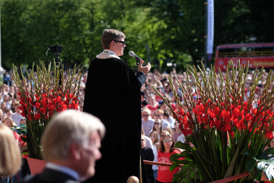 Rektor Svein Stølen takket de nye studentene for at de valgte Universitetet i Oslo under velkomstseremonien mandag 12. august. Arkivfoto: 2018. Foto: Ketil Blom Haugstulen