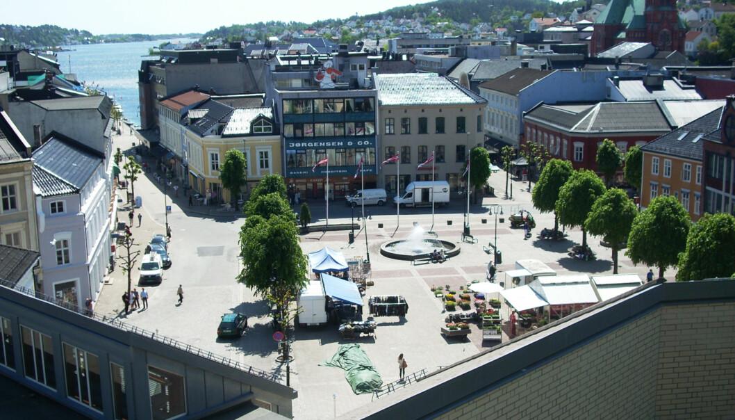 De viktige dagene for universiteter og høgskuler på Arendalsveka startar i dag, og universitet og høgskular er blant dei som fyller Arendal torg. Foto:Wikimedia