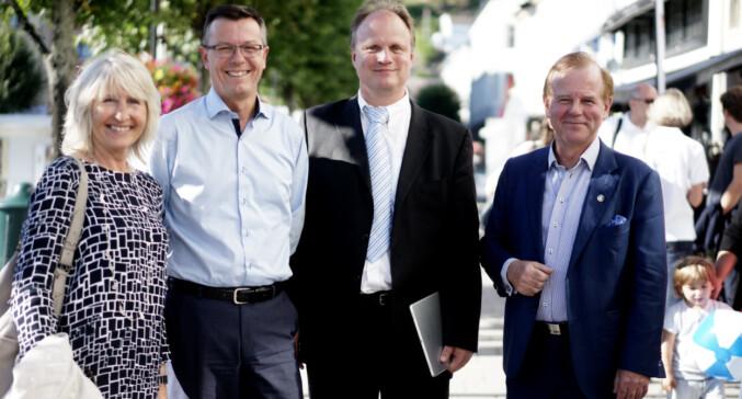 Marit Boyesen (UiS), Dag Rune Olsen (UiB), Frank Reichert (UiA) og Ole Petter Ottersen (dengang UiO) på Arendalsuka 2016.