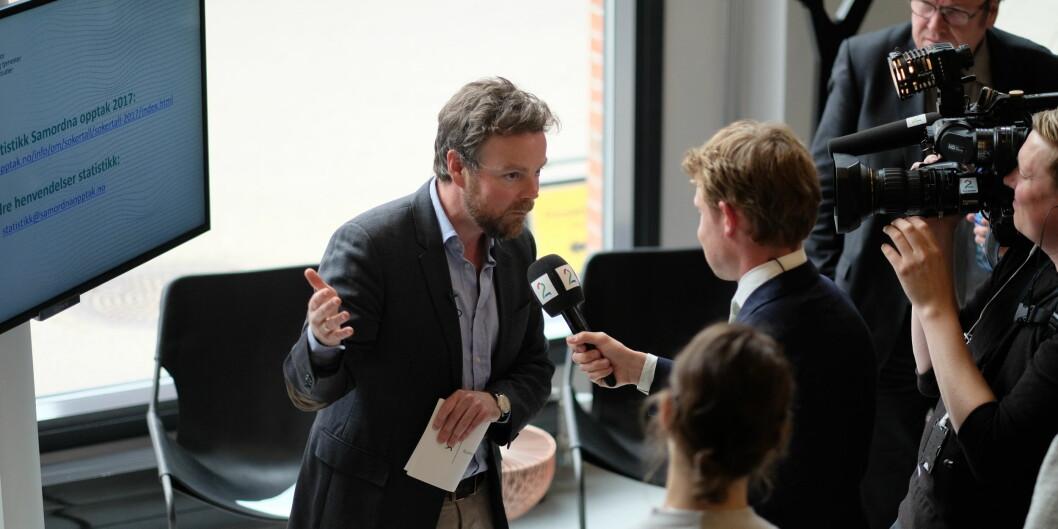 Kunnskapsminister Torbjørn Røe Isaksen var fornøyd med tallene han kunne presentere ved årets hovedopptak for høyere utdanning. Foto: KetilBlom