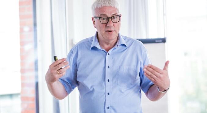 Direktør Tore Hansen på OsloMet, her under møtet om utvidet eierskap i Khrono i juni fjor. Foto: Siri Ø. Eriksen