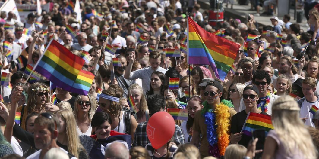 Høgskolen i Oslo og Akershus og Universitetet i Oslo oppfordrer studenter og ansatte til å delta på Pride Parade i Oslo 1. juli. Bildet er fra paraden i2016. Foto: Ruud, Vidar