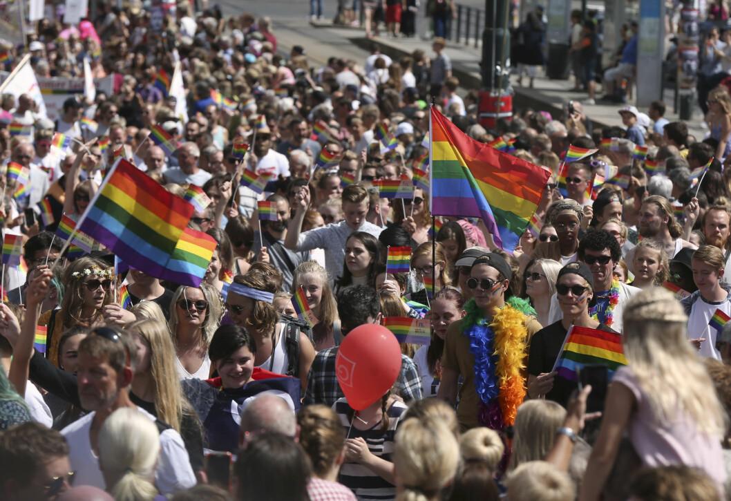 Universitetet i Oslo og OsloMet stiller begge med fullt program for Pride-uka i år. Det hele kuliminerer i paraden lørdag formiddag. Foto: Vidar Ruud / NTB scanpix