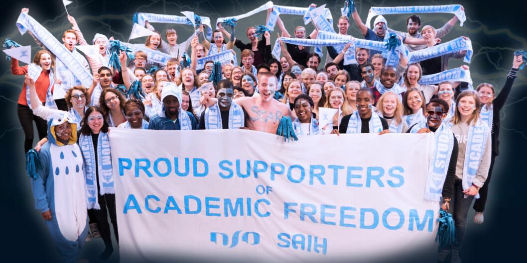 SAIH og NSO har den siste tiden hatt en felles kampanje for å bevare Students at Risk-ordningen. Bildet er tatt og retusjert av SAIH.