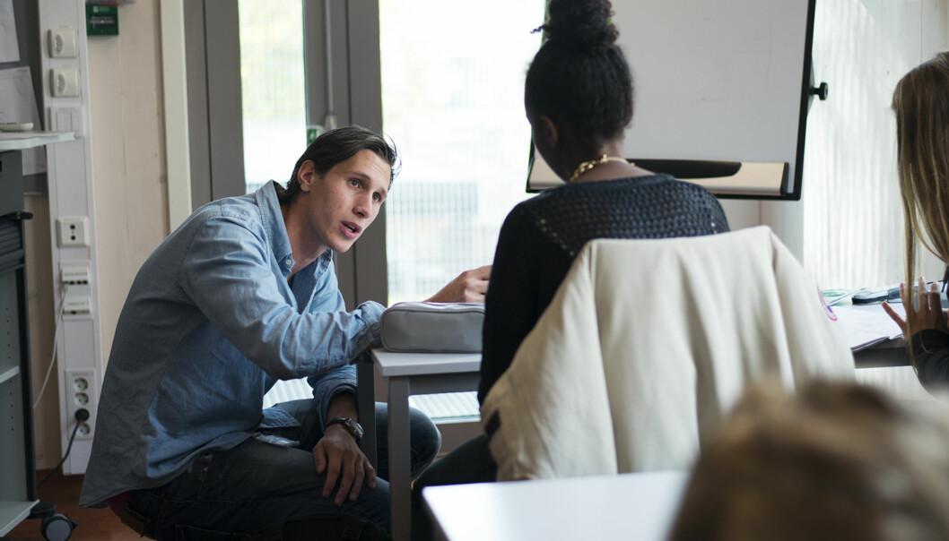 Sebastian Stephansen, tidligere lærerstudent ved davæeende Høgskolen i oslo og Akershus. her i jobb på Morellbakken skole, Oslo. Foto: Evelyn Pecori