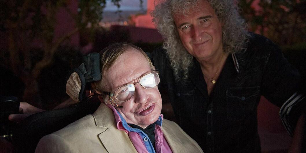 Den britiske matematikeren og fysikeren Stephen Hawking og gitaristen i den tidligere rocke-gruppa Queen, Brian May, er begge sentrale i Starmusfestivalen. I år arrangeres den for fjerde gang. Foto:Starmus