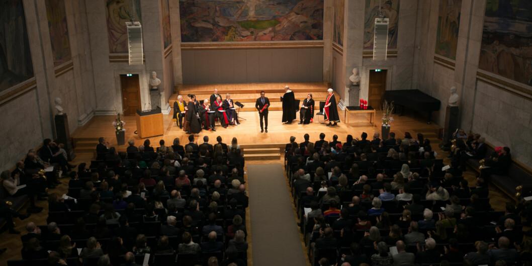 8. juni 2017 ledet rektor på Universitet i Oslo, Ole Petter Ottersen sin siste kreering. 3698 doktorgradskandidater han kreert gjennom sine åtte år i rektorstolen. (Foto fra Ottersen nest siste kreering i mars2017.) Foto: Nicklas Knudsen