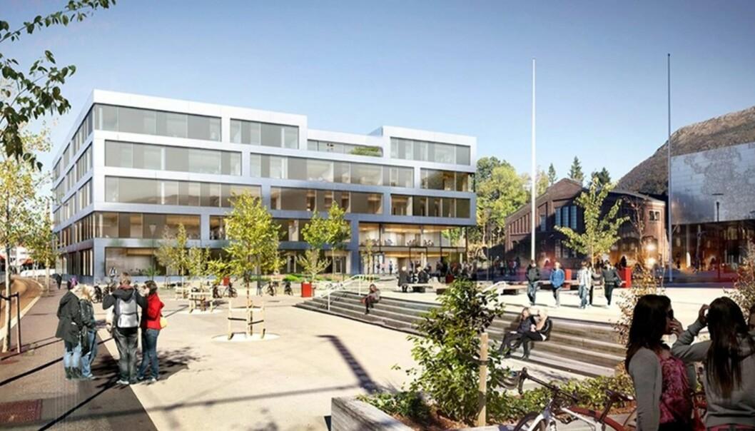 Slik ser arkitektene ser for seg siste bygg for å komplettere Campus Bergen ved Høgskulen på Vestlandet. Illust: Kruse Smith/L2Arkitekter.