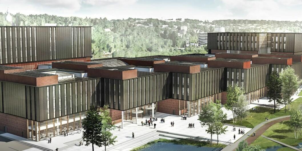 UiO får spesielt skryt for livsvitenskap, skriver rektor Ole Petter Ottersen. Her er skisse av det nye livsvitenskapsbygget ved Universitetet i Oslo, i regi av Statsbygg. Bygget er planlagt ferdig i 2023.