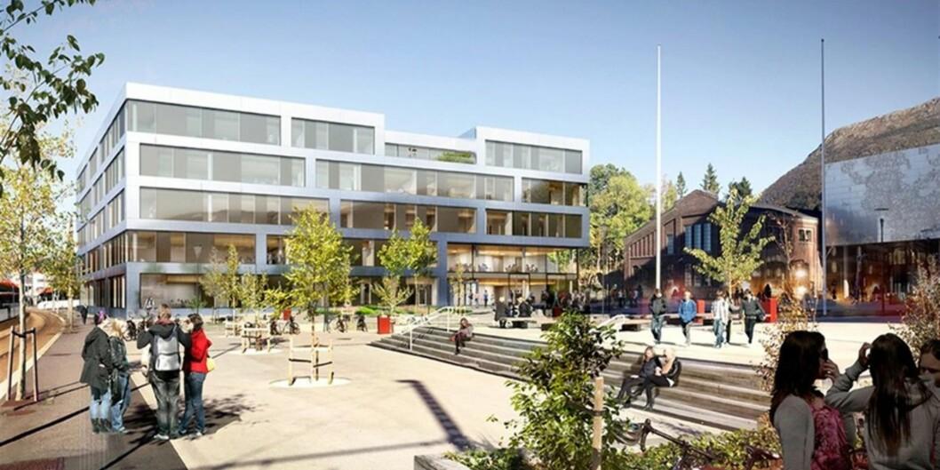"""Slik ser arkitektene for seg siste bygg for å komplettere Høgskolen på Vestlandets Campus Bergen (Kronstad). Uttbygging av den resterende nordtomten er beregnet til å koste mer enn 500 millioner kroner, halvparten av de samlede investeringene for bygg på <span class=""""caps"""">HVL</span>. <span class=""""caps"""">HVL</span> skal etter planen leie av Statsbygg. Illust: Kruse Smith/L2Arkitekte"""