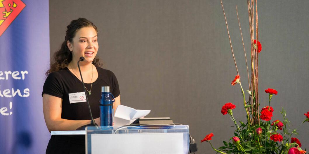 Nyvalgt leder for pedagogstudentene, Hedda Eia Vestad, på talerstolen under landsmøtet. Alle foto: Andreas Solbakken,Pedagogstudentene