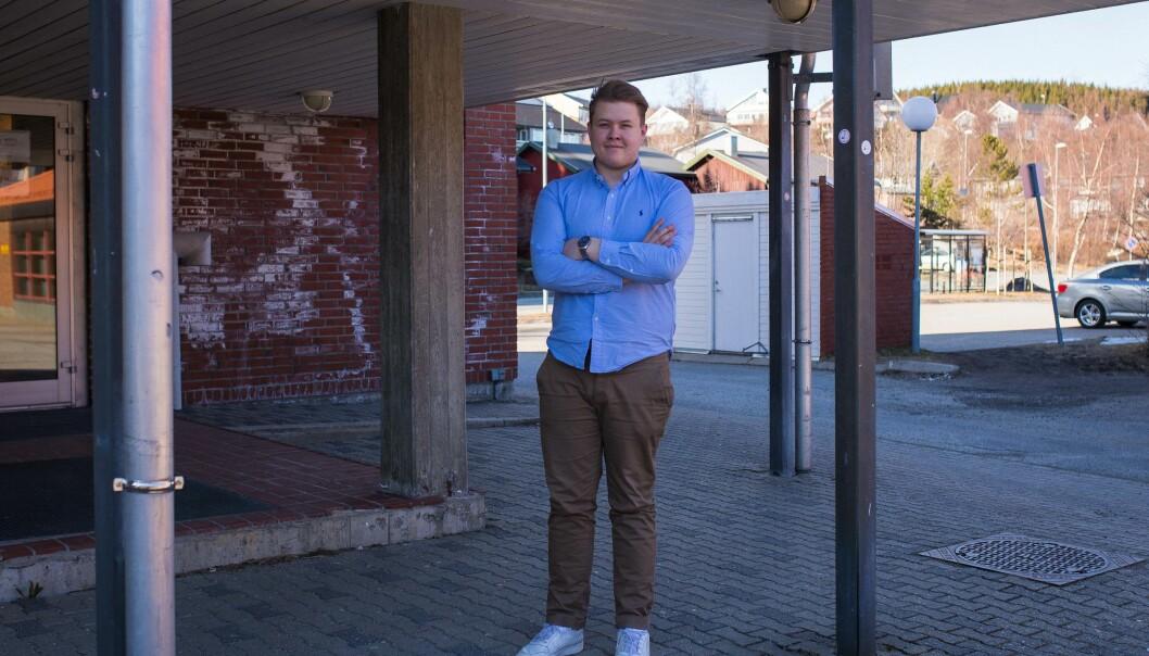 Mathias Lauritzen, studentleder ved Nord universitet, var ikke klar over lovens krav om urnevalg. Nå vil han følge opp saken, slik at praksis blir korrekt. Foto: Siri Ø.Eriksen