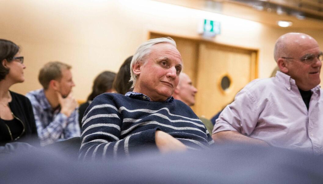 Her er professor Kristian Gundersen på et valgmøte under rektorvalget ved Universitetet i Oslo i 2017.