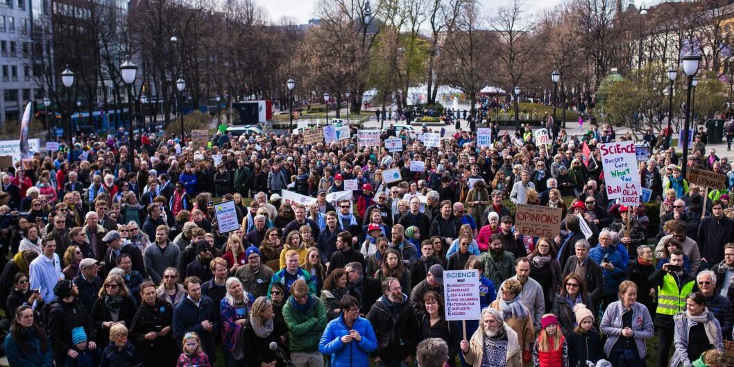 March for science 2017 ble markert i over 400 byer i hele verden, som en markering av viktigheten av vitenskapelig frihet. Her fra markeringen i Oslo. Foto: Siri Ø. Eriksen