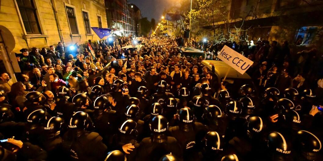 According to organizers, 70.000 protestors Sunday demanded Hungarian president Janos Ader not to sign new universitybill. Foto: ATTILA KISBENEDEK