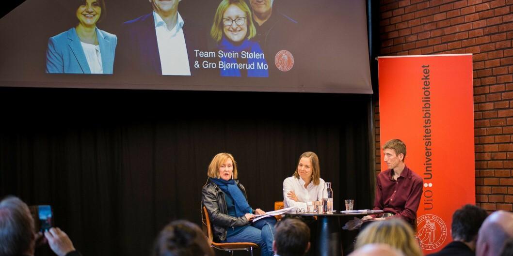 Team Svein Støle og Gro Bjørnerud Mo inviterte til pressekonfreranse i realfagsbibliotektet.