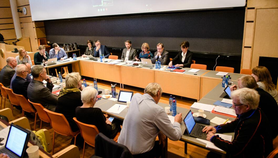 Styret ved UiT Norges arktiske universitet behandlet den mye omstridte faglige organiseringen på universitetet i formiddag. Bildet er fra et tidligerestyremøte. Foto: Lars Åke Andersen