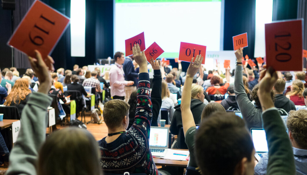 Fra vårens landsmøte i Norsk studentorganisasjon (NSO). Foto: Ketil Blom Haugstulen