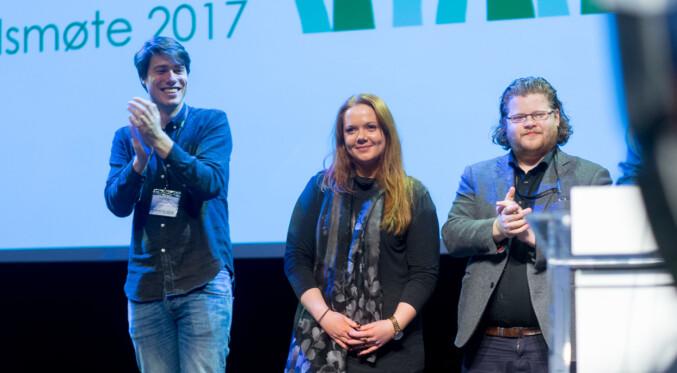 NSO-toppene Jonas Strisland, Ida Austgulen og Jone Trovåg. Her fra landsmøtet til organisasjonen i 2017. Foto: Ketil Blom Haugstulen