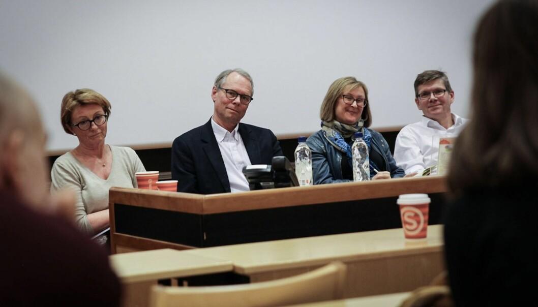 De to rektorteamene som stiller til valg ved Unviersitetet i Oslo møttes til debatt sist uke. F.v. Prorektorkandidat Inger Sandlie, rektorkandidat Hans Petter Graver, prorektorkandidat Gro Bjørnerud Mo, og rektorkandidat SveinStølen.