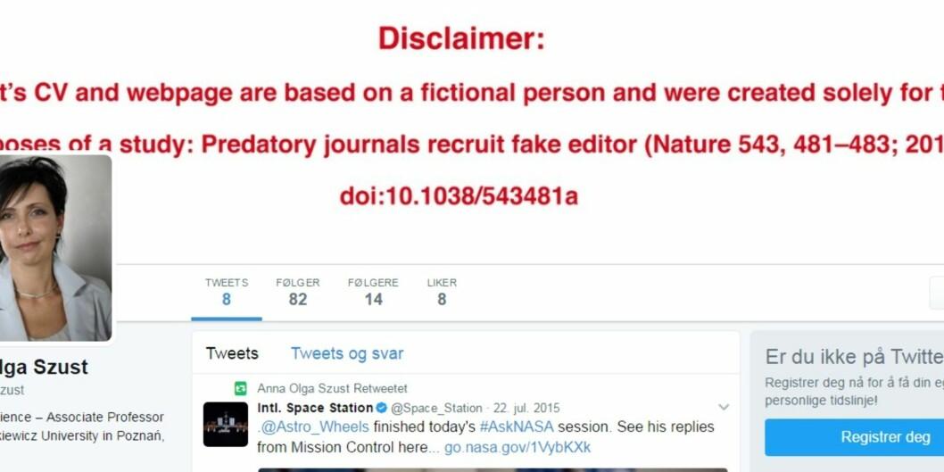 En gruppe forskere ved Universietet i Wroclaw i Polen opprettet denne falske forskeren for å bevise hvor lett det er å bli redaktør i akademiske tidsskrifter. Skjermdump fraTwitter.