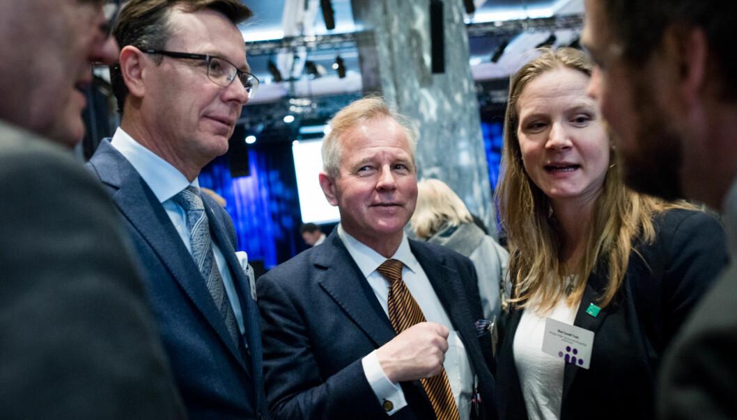 Rektor ved Universitetet i Bergen, Dag Rune Olsen (t.v.), sammen med kollega fra Universitetet i Oslo, Ole Petter Ottersen, er klare for å brette opp ermene for en større satsing på de humanistiske vitenskapene. Foto: Skjalg Bøhmer Vold