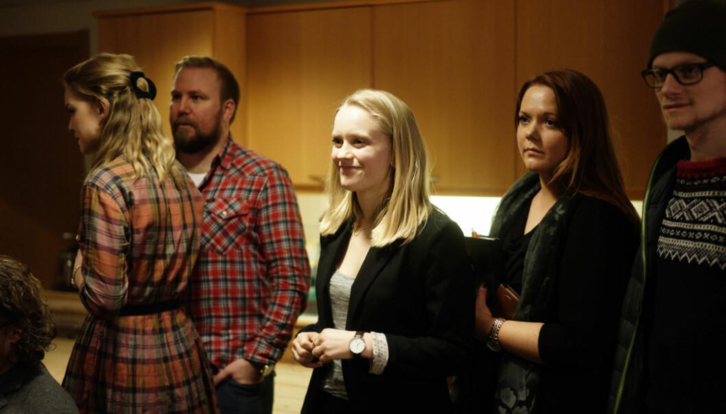 Leder i valgkomiteen, Ane Larsen Mjøen (i midten), er fornøyd med at så mange har stilt til valg ved Høgskolen i Oslo og Akershus. Foto: KetilBlom