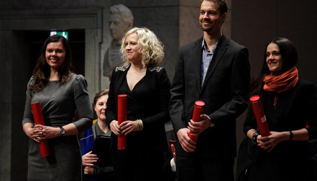 I første halvår i 2017 ble det avlagt 287 doktorgrader ved Universitetet i Oslo. Her fra en doktorkreering med forrige rektor, Ole PetterOttersen. Foto: Nicklas Knudsen