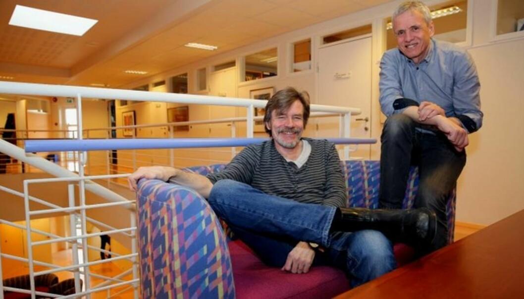 Professorene Kjetil Haugen (t.v.) og Kari A. Olsen ved Høgskolen i Molde.  Foto: Arild Waagbø, Panorama.