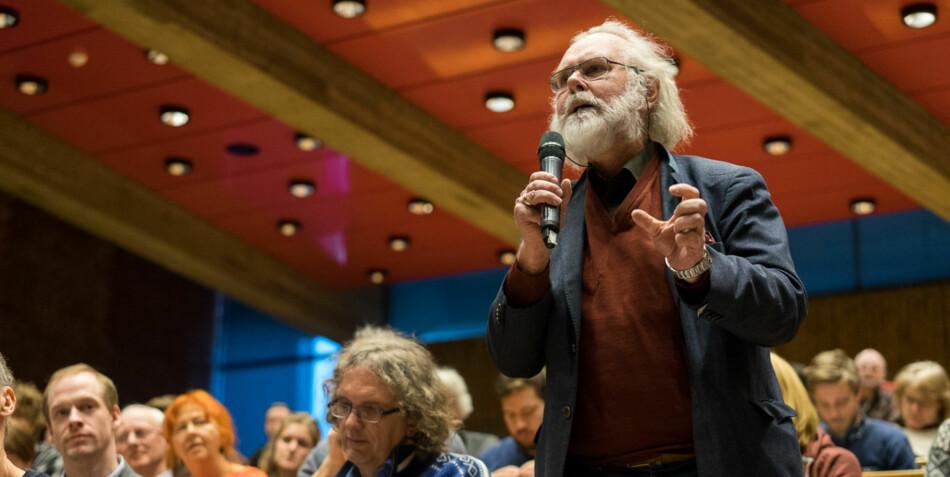 Nils Christian Stenseth under rektordebatt ved Universitetet i Oslo. Foto: Ketil Blom Haugstulen