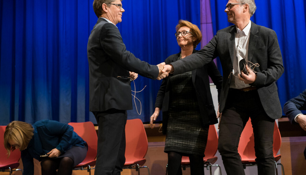 Svein Stølen (til venstre) og Hans Petter Graver (til høyre) er kandidatene som stiller til rektorvalget ved Universitetet i Oslo våren 2017. Foto: Ketil Blom Haugstulen