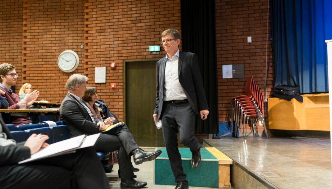 Svein Stølen stiller til rektorvervet på Universitetet i Oslo. Her fra debatten mellom han og motkandidat Hans Petter Graver i februar. Foto: Ketil Blom Haugstulen