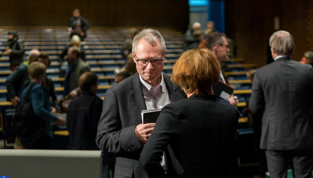 Hans Petter Graver er preses i Det Norske Videnskaps-Akademi. Her avbildet fra en debatt da han stilte som rektor ved UiO i 2017. Foto: Ketil Blom Haugstulen