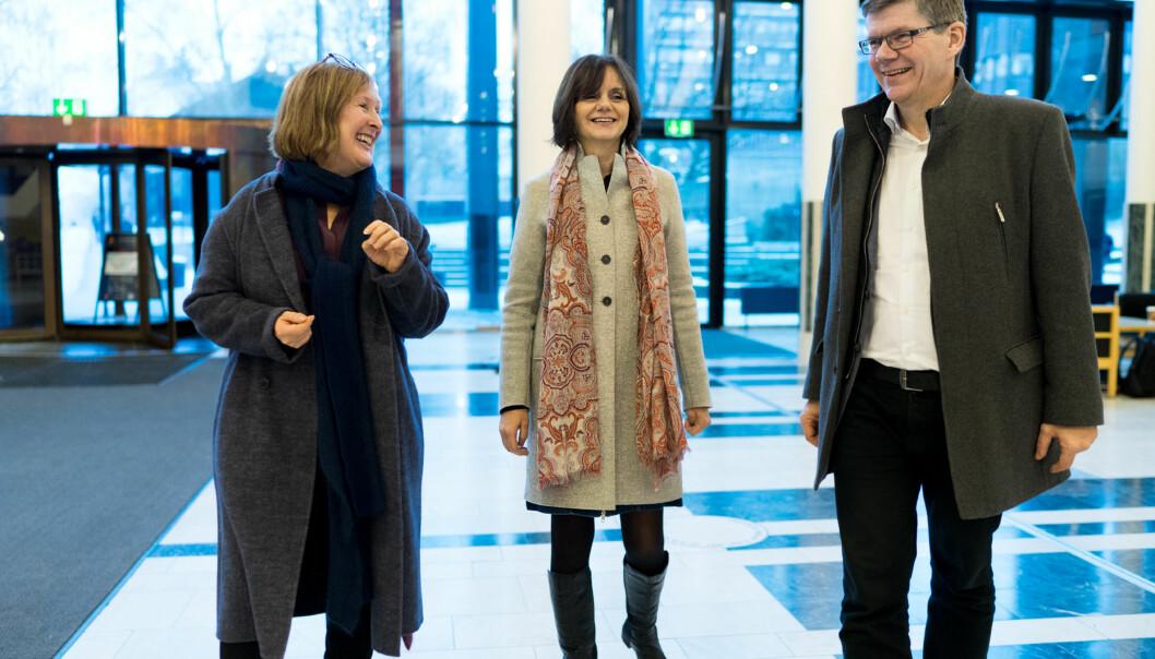 Åse Gornitzka, Svein Stølen (rektorkandidat), Gro Bjørnerud Mo, UiO. Foto: Ketil Blom Haugstulen