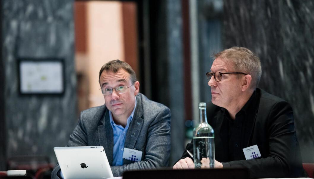 Voldas rektor Johann Roppen (t.v.) og Moldes rektor Hallgeir Gammelsæter hadde møte med NTNU-rektor Gunnar Bovim og Kunnskapsdepartementet høgskulesatsing i Kristiansund etter kontaktkonferansen i Oslotysdag.