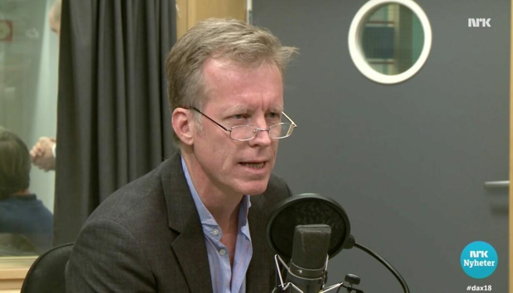 Rektor ved Høgskolen i Oslo og Akershus, Curt Rice, debatterte mot Nikolai Astrup (H) på Dagsnytt 18 torsdag. Foto: Skjermdump fra NRK