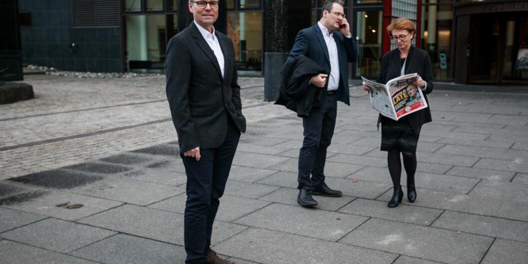Jusprofessor Hans Petter Graver (t.v.) og hans rektorteam, professorene Jan Frich og Inger Sandlie, satser på tradisjon og fornyelse i sitt valgprogram før rektorvalget ved Universitetet iOslo. Foto: Nicklas Knudsen