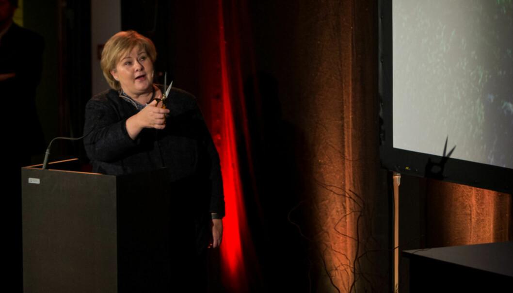 Statsminister Erna Solberg opna offisielt Høgskulen på Vestlandet tysdag. Foto: Christian Blom, PåHøyden