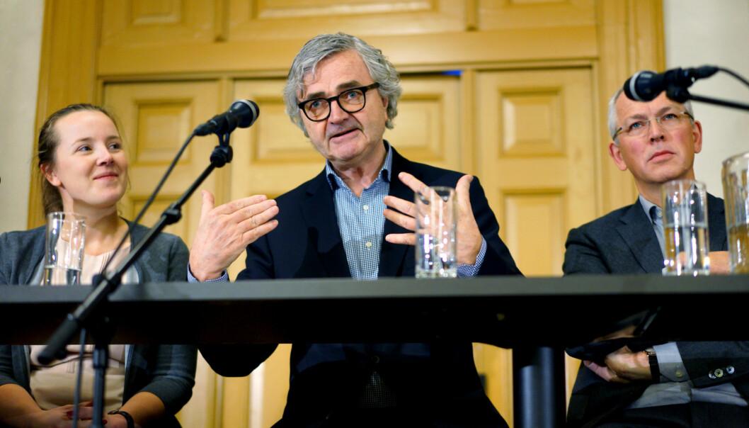 Leder i Forskerforbundet Peter Aaslestad, eder for UHR, Vidar L Haanes og NSO-leder Marianne Andenæs. Foto: Ketil Blom Haugstulen