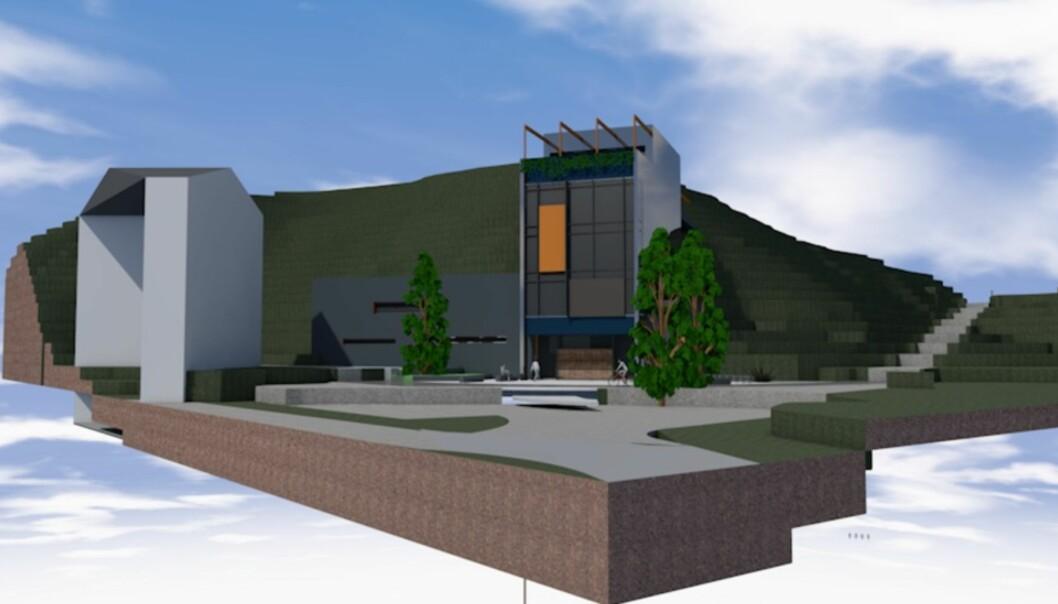 Etter planen skal studenthuset byggast i fem etasjar i den bratte skråninga mellom Fossbygget og Fosshaugane i Sogndal. (Skisse: Arkitektkontoret4B)