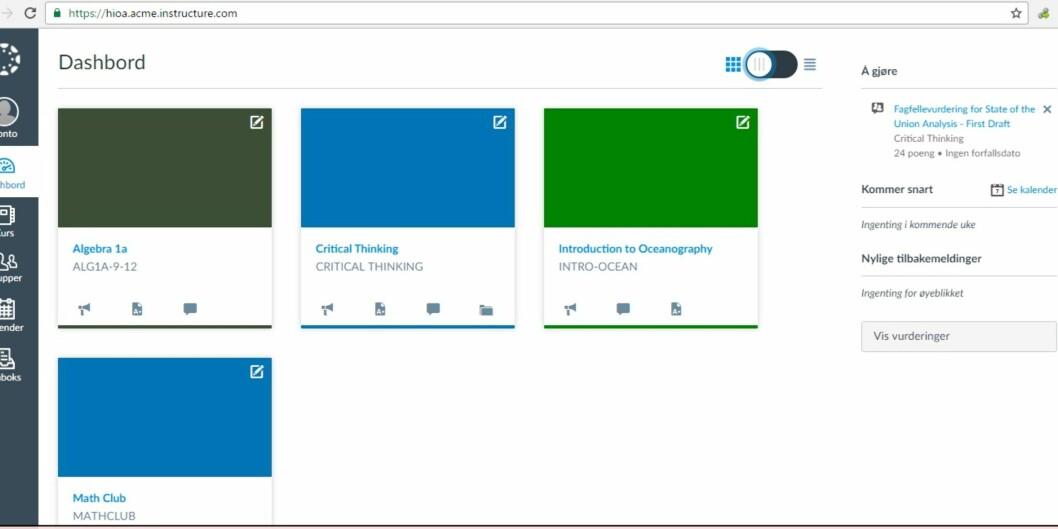 Canvas er systemet Uninett anbefaler til å ta over for Fronter og itslearning. Foto: Skjermdump, demonstrasjonsversjonen avCanvas